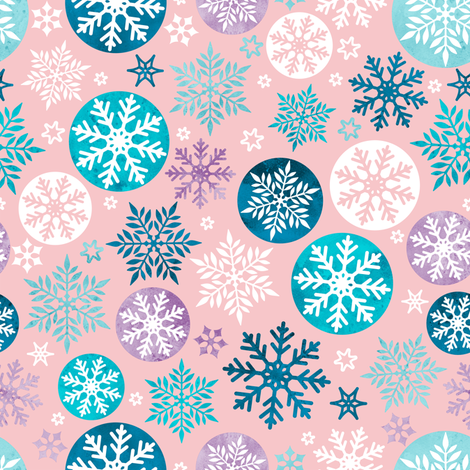 Magical snowflakes 3 // pink background turquoise ice marine blue lavander white snowflakes fabric by selmacardoso on Spoonflower - custom fabric