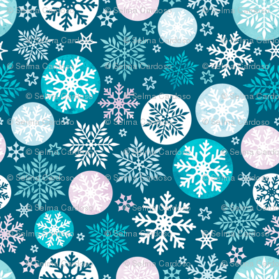 Magical snowflakes 4 // marine background mauve turquoise pastel ice blue white snowflakes