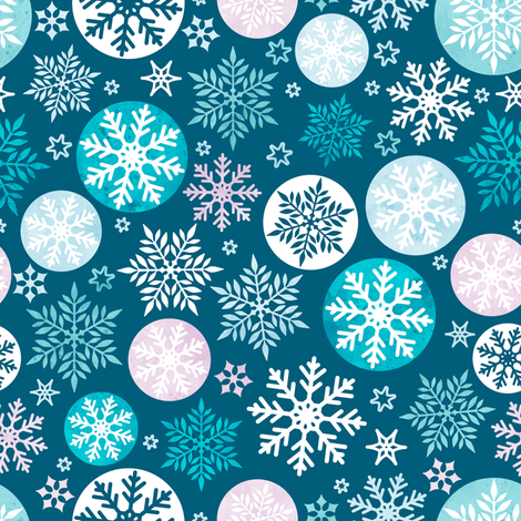 Magical snowflakes 4 // marine background mauve turquoise pastel ice blue white snowflakes fabric by selmacardoso on Spoonflower - custom fabric