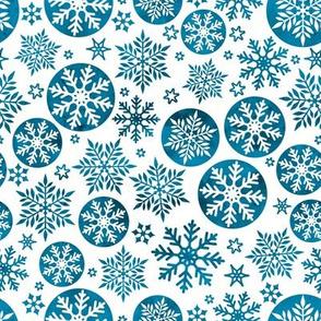 Magical snowflakes 5 // white background marine blue snowflakes