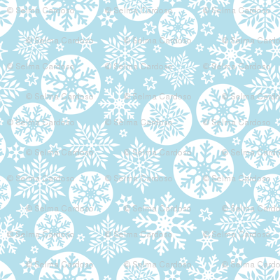 Magical snowflakes 6 // pastel blue background white snowflakes
