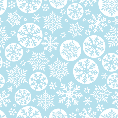 Magical snowflakes 6 // pastel blue background white snowflakes fabric by selmacardoso on Spoonflower - custom fabric