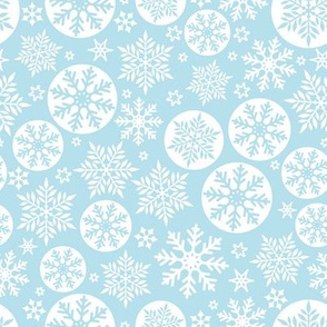 Magical snowflakes 6 // pastel blue background white snowflakes