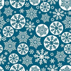 Magical snowflakes 7 // marine blue background white snowflakes