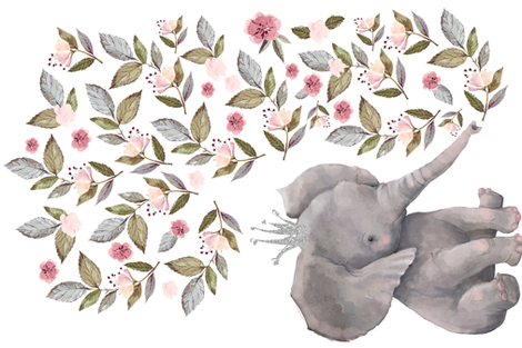 "54""x36"" Baby Elephant with Flowers & Crown fabric by shopcabin on Spoonflower - custom fabric"