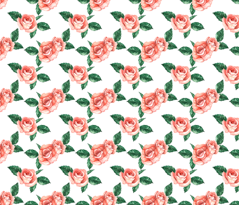 Red Garden Roses // White (Small Scale) fabric by hipkiddesigns on Spoonflower - custom fabric