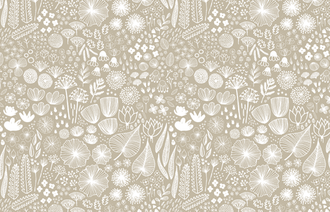 Botanical Sketchbook M+M Latte by Friztin fabric by friztin on Spoonflower - custom fabric