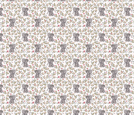 "8"" Baby Elephant with Crown & Florals /  Mix & Match fabric by shopcabin on Spoonflower - custom fabric"