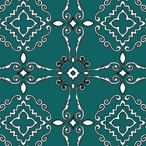 Project 404.2 | Teal Quilted Line Art | Bohemian Bandana | Handkerchief
