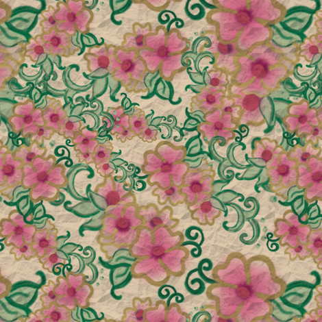 Project 412 | Pale Pink Primrose on Gold fabric by bohobear on Spoonflower - custom fabric