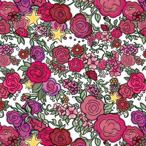Project 410 | Cottage Rose and Stars on White fabric by bohobear on Spoonflower - custom fabric
