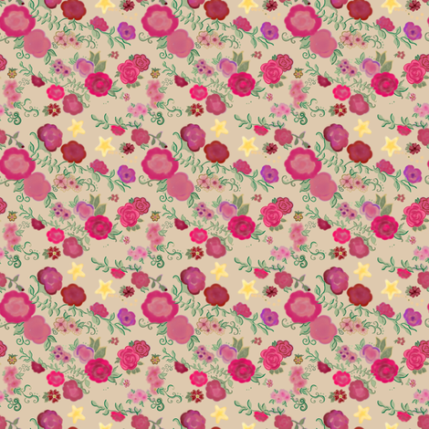 Project 408 | Watercolor Cottage Rose and Stars on Cream fabric by bohobear on Spoonflower - custom fabric