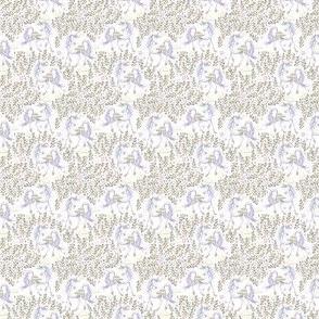 """1.5"""" Magical Unicorn Floral  Garden Gold Silver hues"""