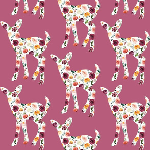"6"" Floral Fawn Silhouettes on Mauve"