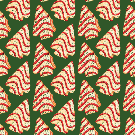 Christmas Tree Cakes - Green fabric by kellygilleran on Spoonflower - custom fabric