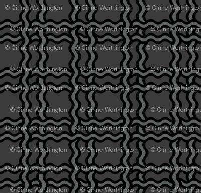 squiggle plaid2 - black+charcoal