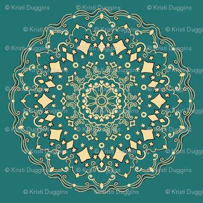 Project 271 | Black and Gold Star Mandala on Green