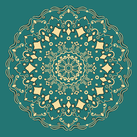 Project 271 | Black and Gold Star Mandala on Green fabric by bohobear on Spoonflower - custom fabric