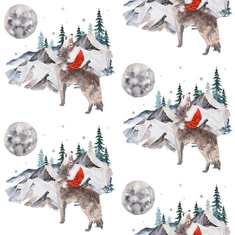 "4"" Wolf Winter / Santa Hat fabric by shopcabin on Spoonflower - custom fabric"