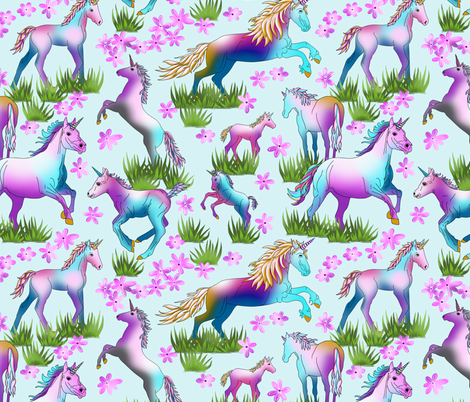Unicorns_on_Pale_Turq fabric by house_of_heasman on Spoonflower - custom fabric