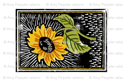 Sunflower Block Print Tea Towel* || flower floral linoleum wood carving summer printmaking cut and sew print poster