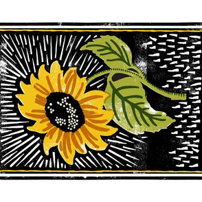 Sunflower Block Print Tea Towel* || flower floral linoleum wood carving summer printmaking cut and sew print poster
