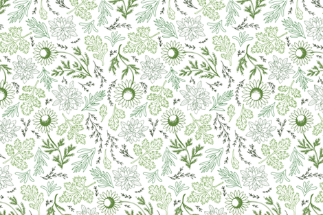 Field Herbs In Green (Large) fabric by carrie_hendrix on Spoonflower - custom fabric