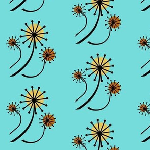 Mid Century Modern Dandelions in turquoise
