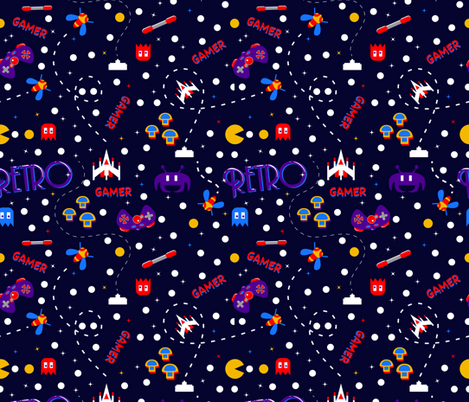 Retro Gamer fabric by doodleheaddee on Spoonflower - custom fabric