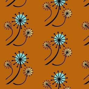 Mid Century Modern Dandelions on orange