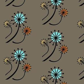 Mid Century Modern Dandelions on Taupe