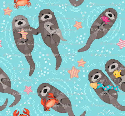 Otters Playing - Aquamarine Background // Big Size