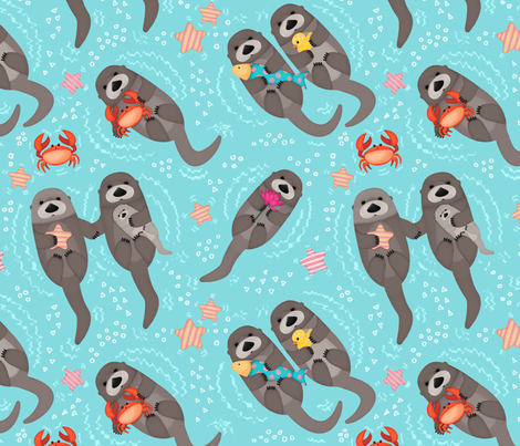 Otters Playing - Aquamarine Background // Big Size fabric by ximena_designs on Spoonflower - custom fabric