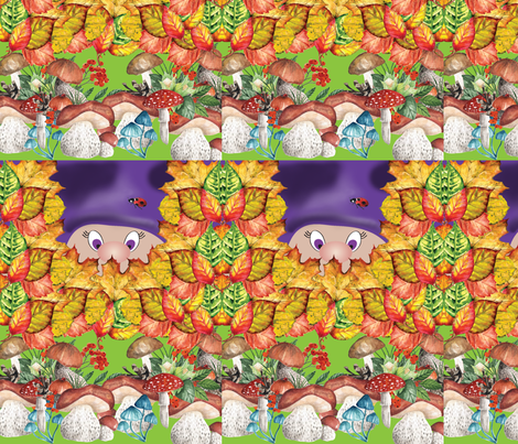 print_gnome_green_n_purple_short pad cut fabric by stargazingseamstress on Spoonflower - custom fabric