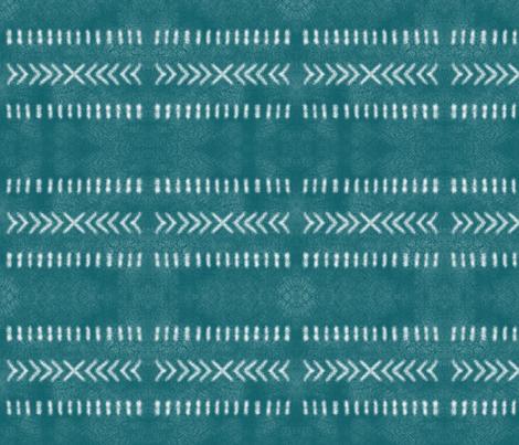 Minimalist Tribal Pattern in Teal fabric by mel_fischer on Spoonflower - custom fabric