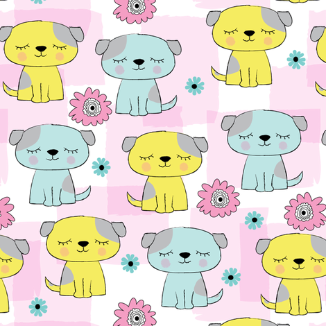 blue and yellow puppies  fabric by lilcubby on Spoonflower - custom fabric