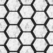 LUXE Hexagon Marble Tiles with night star shimmery grout
