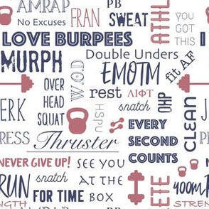 Crossfit words, burpees, fitness, gym