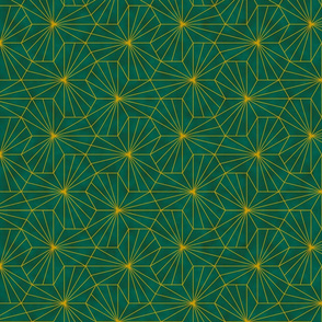 Gold Sunburst Tile - Green