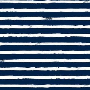 White Painted Stripes on Navy Blue (Grunge Vintage Distressed 4th of July American Flag Stripes)