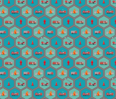 Fire Trucks - Roading Hex fabric by samalah on Spoonflower - custom fabric