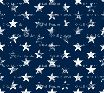 Distressed White Stars on Navy Blue (Grunge Vintage 4th of July American Flag Stars)