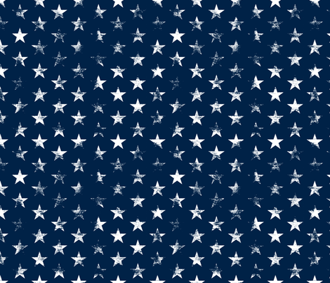 Distressed White Stars on Navy Blue (Grunge Vintage 4th of July American Flag Stars) fabric by sweeterthanhoney on Spoonflower - custom fabric