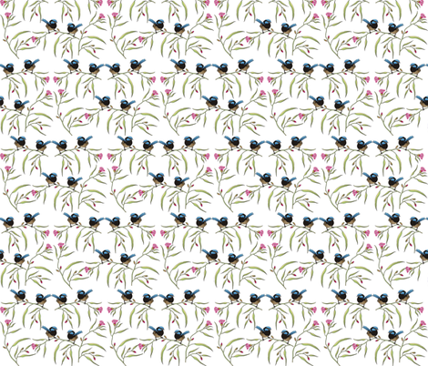 2_Fairy_Wren_Pink_Blossoms fabric by tat1 on Spoonflower - custom fabric