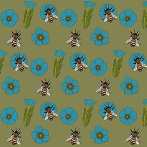 Buttercup_repeat_turqoise_flowers_green_2