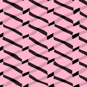 Pink and Black Chevron Glitch