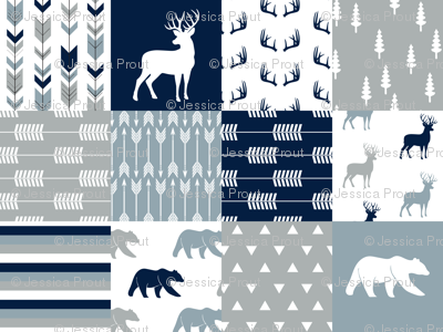 woodland patchwork (navy, rustic woods blue, grey) buck and bear