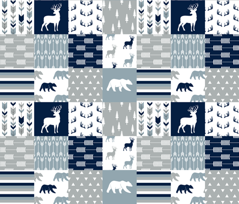 woodland patchwork (navy, rustic woods blue, grey) buck and bear  fabric by littlearrowdesign on Spoonflower - custom fabric