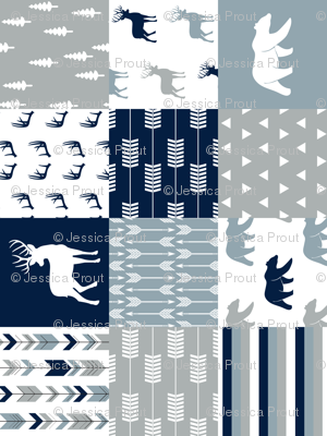 woodland patchwork (navy, rustic woods blue, grey) buck and bear  (90)