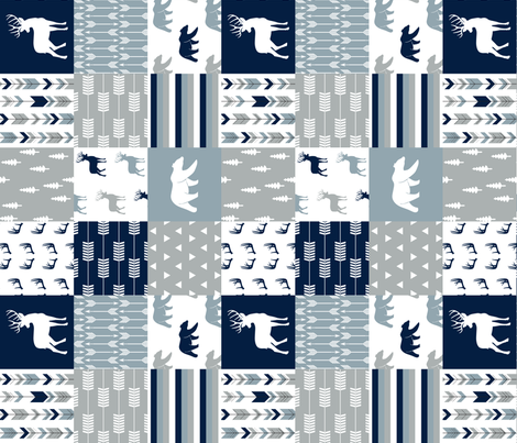 woodland patchwork (navy, rustic woods blue, grey) buck and bear  (90) fabric by littlearrowdesign on Spoonflower - custom fabric